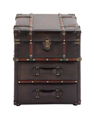 Benzara The Rich Wood Leather Side Table Chest, Brown