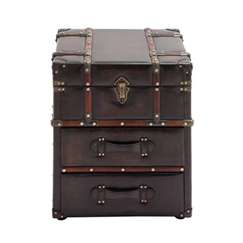 Charmant Benzara The Rich Wood Leather Side Table Chest, Brown