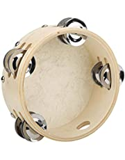 Double Row Jingles Educational Hand Held Tambourine, White Classic Tambourine, Performances Childhood Education Kids for Music Enlightenment