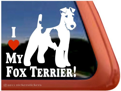 I Love My Fox Terrier! ~ Wirehair Fox Terrier Dog Vinyl Window (Wirehair Fox)