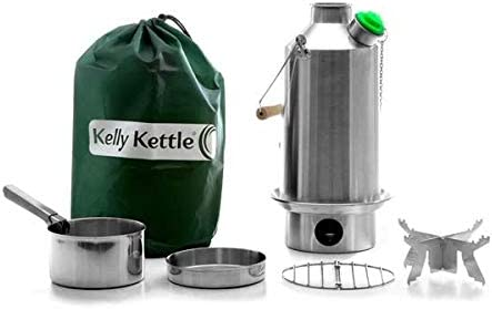Campamento Base Kelly Kettle® - PAQUETE COMPLETO (Hervidor de Acero Inoxidable de 1.5 litros + Conjunto de Cocina de Acero + Soporte de Olla de Acero) Hervidor y Estufa de Acampada en