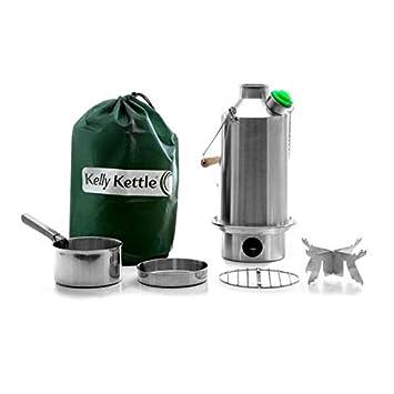 Campamento Base Kelly Kettle® - PAQUETE COMPLETO (Hervidor de Acero Inoxidable de 1.5 litros + Conjunto ...