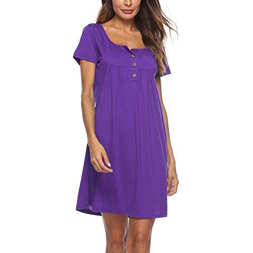 (Womens Casual Solid Short Sleeve Dress Loose Button O-Neckline Mini Dress Purple)