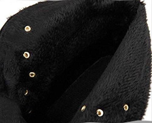 Otoño y el invierno helado ante tacón metal fastenerLace de encaje hasta zapatos que botas de Martin black