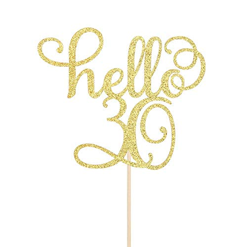 Hello 30 Cake Topper - 30th Birthday / Wedding Anniversary Party Sign Decorations