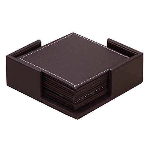 Kaimao Set of 6 Modern Waterproof PU Leather Square Coasters Table Mats with Holder for Cup Glass Tableware 4 x 4 Inch - Brown Leather Crocodile Coffee Table