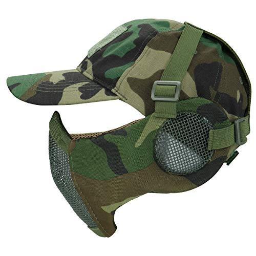 Masque Pliable Airsoft Mesh avec Protection Oreille et Casquette de Baseball Réglable Set pour CS/Chasse/Paintball/Tir 1