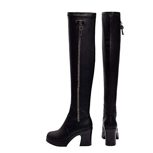 HooH Damen Diamanten Platform Klobige Knight Stiefel Noir