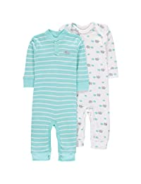 Wan-A-Beez Baby Boys' 2 Pack Printed Coverall (3-6 Months, Turquoise Elephant)