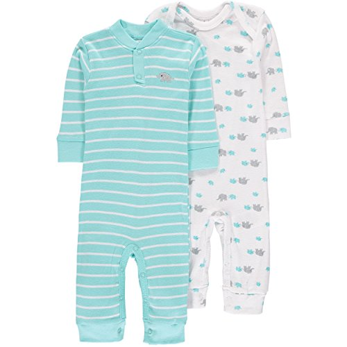 Infant Turquoise Kids Clothing (Wan-A-Beez Baby Boys' 2 Pack Printed Coverall (0-3 Months, Turquoise Elephant))