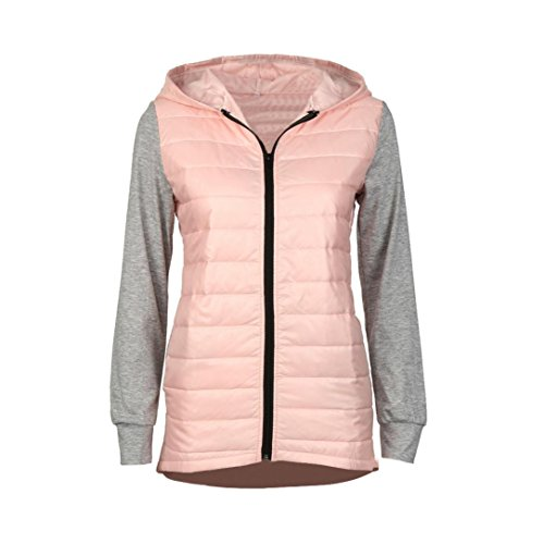 Hot Sale! Women Cotton Coat,Canserin Womens Winter Warm Hooded Jacket Down Coat (L, Pink)