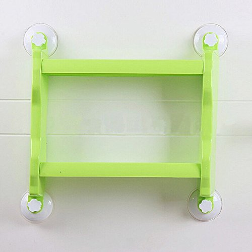 RoseBlue byRisa Plastic Wall Mounted Suction Cup Storage Rack Traceless Vacuum Kitchen Bathroom Shelf Holders (Green)