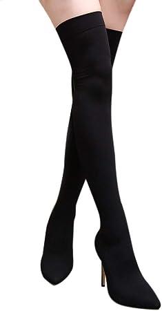 Botas EláSticas De Taladro Atractivas Mujer OHQ Botas De TacóN Alto En Punta Zapatos Negro Rojo Beige Azul Botas sobre La Rodilla