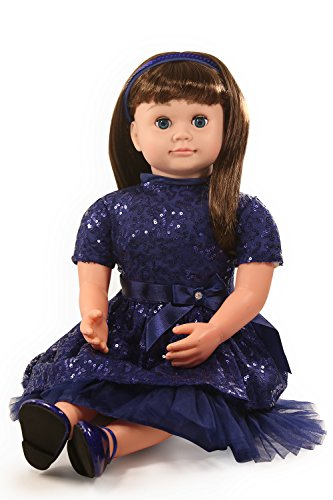 "Ask Amy 22"" Talking Interactive Singing Storytelling Smart Educational Doll Brunette Blue Sparkles Dress"