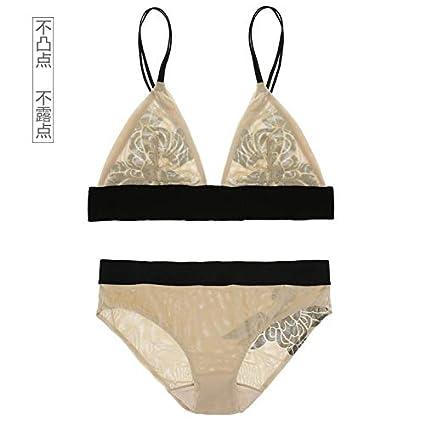 Malla triángulo copa ultra delgada sujetador sexy conjunto de sección delgada transparente ropa interior de encaje