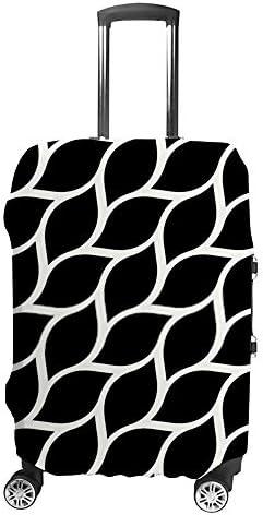 スーツケースカバー 伸縮素材 トラベルダストカバー キャリーカバー 紛失防止 汚れや傷防止 お荷物保護 トラベルダストカバー 着脱簡単 通気性 海外旅行 出張用 便利グッズ 男女兼用 幾何学的な黒い葉のテクスチャ