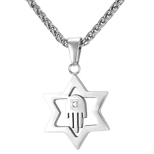 U7 Amulet Hamsa Hand Star of David Necklace with Stainless Steel Chain 22 Inch for Men Women