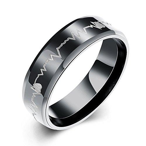 6mm Black Titanium Ring For Men, Laser Engraving Lightning Stripe Black Titanium Wedding Bands Ring Fashion Fine Men Wrist Hand Jewelry