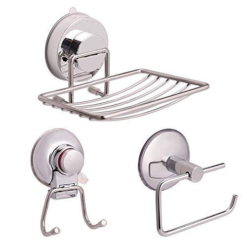 Baring Vacuum Suction Stainless Steel Bath Shower Caddy/Soap Dish/Toilet Paper Holder Bath Organizer Kitchen Storage Basket for Shampoo, Toilet Tissue Paper Holder, Soap- Anti Rust (Set of 3)