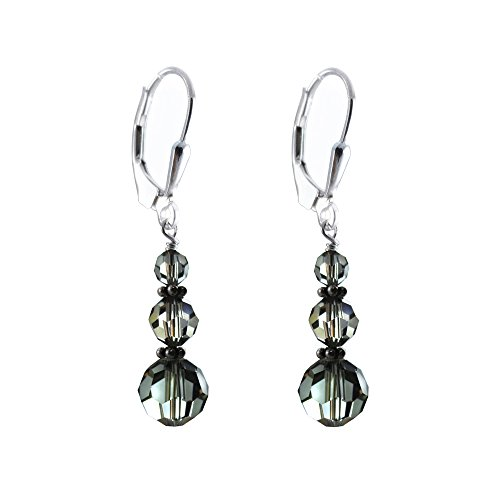 Grey color Earrings made with Faceted Round Swarovski Crystal Elements, Sterling Silver - Earrings Crystal Faceted