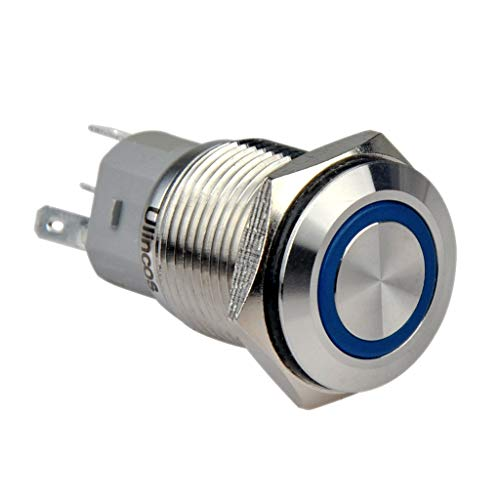 Ulincos Momentary Push Button Switch U16F1 1NO1NC Silver Stainless Steel Shell with 12V Blue LED Ring Suitable for 16mm 5/8