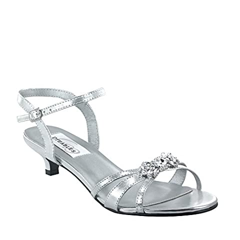 Dyeables Women's Penelope Ankle-Strap Sandal,Silver Metallic,12 D US