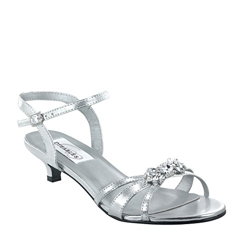 (Dyeables Women's Penelope Ankle-Strap Sandal,Silver Metallic,8.5 D US)