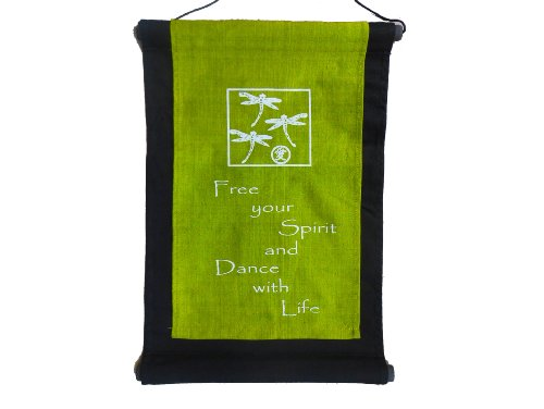 Inspirational Quote Banner/scroll - Dragonfly - Free Your Spirit and Dance with Life - Olive Green
