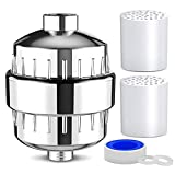 10 Stage Universal Chrome Shower Water Filter - Removes Chlorine, Microorganisms, Hard Water and Odors. Included: 1 Chrome Case, 2 Filters, 2 Washers and Teflon Tape (Chrome)