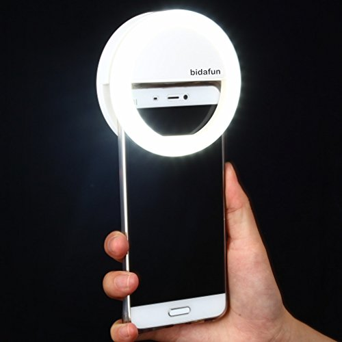 Bidafun Clip on Selfie Ring Light with 36 Led Bulbs For Smart Phone Camera Round Shape White (Photo Light)