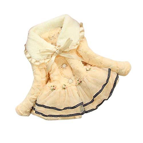 Apricot Wool - JIANLANPTT Lovely Baby Wools Jacket Cute Toddler Kids Girls Faux Fur Fleece Winter Lace Jackets 2-3Years Apricot 1