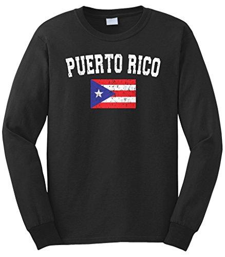fan products of Cybertela Men's Faded Distressed Puerto Rico Flag Long Sleeve T-Shirt (Black, Medium)