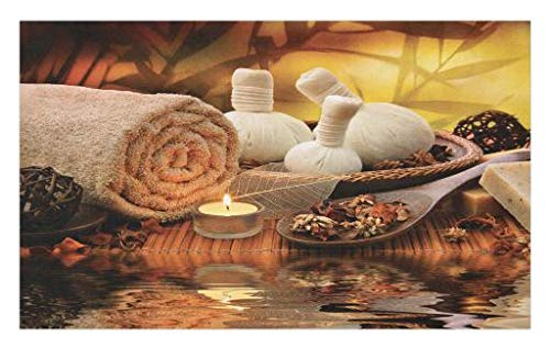 Lunarable Spa Doormat, Outdoor Spa Massage Setting at Sunset with Candlelight Reflections Culture Theme, Decorative Polyester Floor Mat with Non-Skid Backing, 30 W X 18 L Inches, Orange Mustard