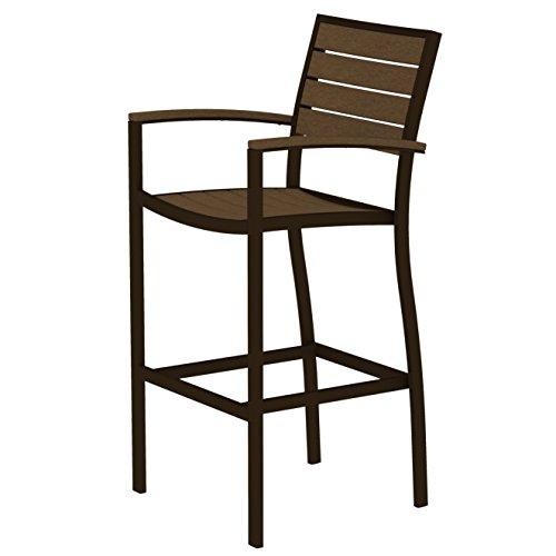 Arm Euro Bar Stool - Euro Bar Arm Chair Finish: Textured Bronze, Seat and Back Finish: Teak