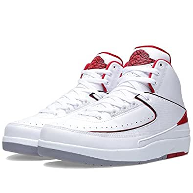 "Nike Mens Air Jordan 2 Retro ""OG Colorway"" White/Black-Varsity Red-Cement Grey Leather Basketball Shoes Size 8"