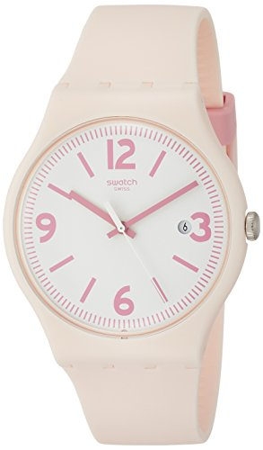 Swatch Originals English Rose White Dial Silicone Strap Ladies Watch SUOP400