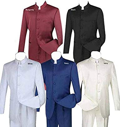 VINCI Mens 5 Button Single Breasted Classic Fit Banded Collar Suit 5HT