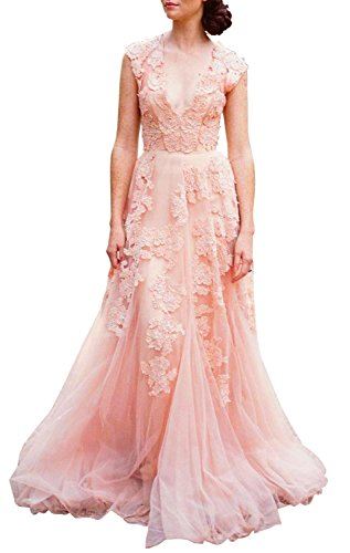 ASA Bridal Women's Vintage Cap Sleeve Lace A Line Wedding Dresses Bridal Gowns Orange Pink 10 (Sleeves Applique Lace)