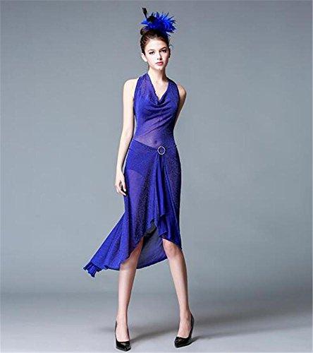 etapa funcionamiento Baile vestido la mujer del de Backless de latino la f vestido la danza demostración de blue U6OrUY