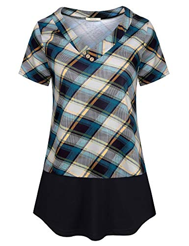 Bebonnie Misses Tunic Tops, Tartan Plaid Short Sleeve V Neck Summer Women Shirts Chic Nice Leisure Loose Fitting A Line Pleated Dressy Blouse Ladies Casual Clothes Blue Beige L