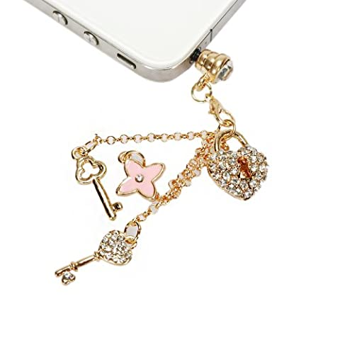 Mavis's Diary Dust Plug Earphone Jack Bling Diamonds Love Heart with Tassel / Cell Charms for Iphone SE 6 6S 5S / Ipod / Samsung Galaxy S7 S7 Edge S6 Note 5 4 3 / LG Series and Other 3.5mm Ear - Jack Heart Charm