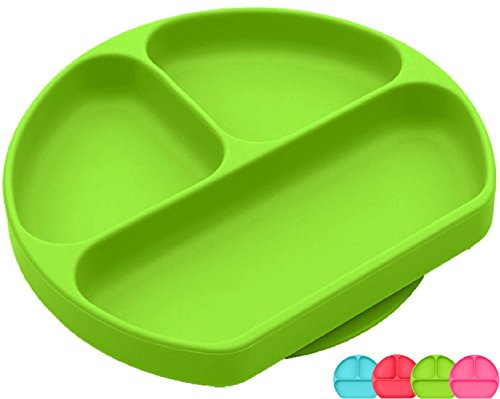 SiliKong Silicone Suction Plate for Toddlers, Fits Most Highchair Trays, BPA Free, Divided Baby Feeding Bowls Dishes for Kids (Green) by SiliKong