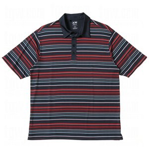 Adidas Mens Climalite Engineered Stripe Relaxed Fit Polo Shirt (Small, Navy/Red Velvet/Glacier)