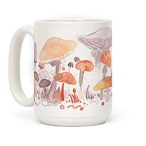 LookHUMAN Mushroom Garden Pattern White 15 Ounce Ceramic Coffee Mug