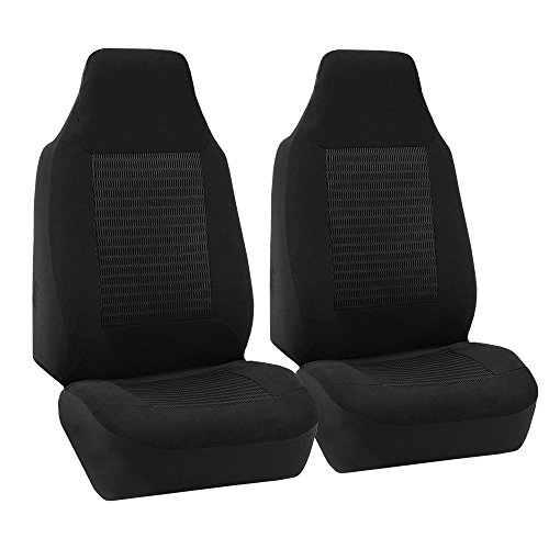 (FH Group FB107BLACK102 Black Premium Fabric Bucket Car Seat Cover, Set of 2 (Airbag Compatible) )