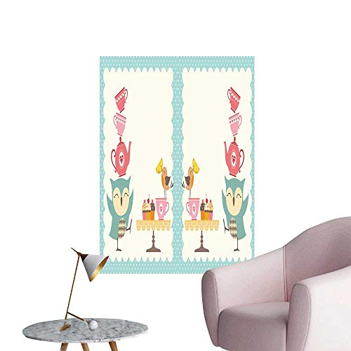 SeptSonne Wall Decorative Owl Tea Bird Lemon Cupcakes Teacups Border Blue Pink Pictures Wall Art Painting,28