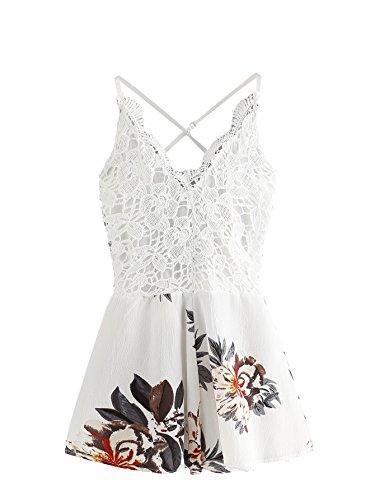 SheIn Women's Boho Crochet V Neck Halter Backless Floral Lace Romper Jumpsuit Small White#2 ()