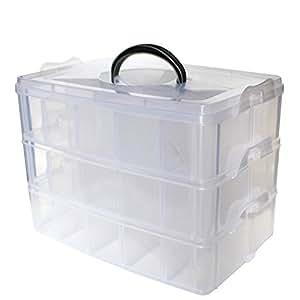 Caja almacenamiento 3 niveles pl stico transparente por - Cajas de plastico para almacenar ...