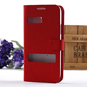 New Fashion View Magnetic Flip Stand Leather Wallet Card Hard Case Cover For Samsung Galaxy S4 Mini i9190 Phone (Red)