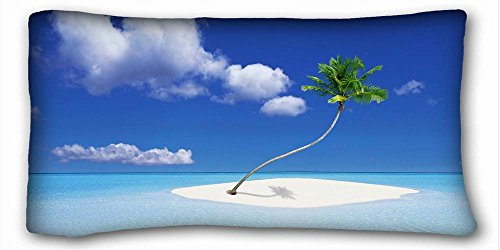 Island European Sham - Custom ( Nature tree palm trees sand images bends gulf island ) Soft Pillow Case Cover 20*36 Inch (One Sides)Zippered Pillowcase suitable for Queen-bed PC-Purple-26661